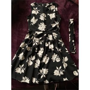 Rose Patterned Dress — Black & White Colored.